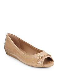 Cole Haan Elsie Patent Leather Peep Toe Flats