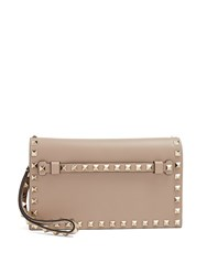 Valentino Rockstud Small Leather Clutch Nude