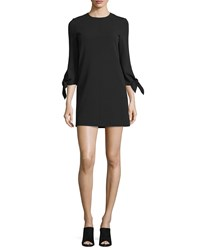 Tibi Tie Sleeve Structured Crepe Shift Dress Black Size 8