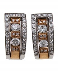 Damiani Belle Epoque Two Tone Diamond Channel Earrings