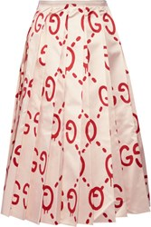 Gucci Pleated Printed Duchesse Silk Satin Midi Skirt Beige