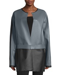 Cnc Costume National Colorblock Leather Jacket Gray Women's