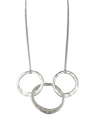 Kenneth Cole Hammered Silvertone Three Ring Necklace
