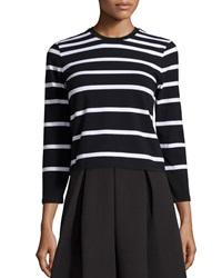 Chelsea And Theodore Striped Knit Crop Top Blk Wht