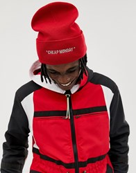Cheap Monday Beanie Hat In Red With Embroidered Logo