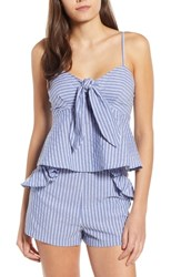 The Fifth Label Parcel Stripe Tie Front Tank Blue With White