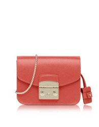 Furla Metropolis Mini Corallo Leather Crossbody Bag