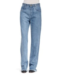 Chloe Five Pocket Frayed Denim Jeans Blue
