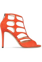 Jimmy Choo Ren Suede Cutout Sandals Bright Orange