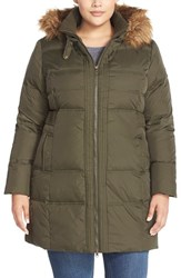 Plus Size Women's Larry Levine Hooded Down And Feather Fill Coat With Faux Fur Trim