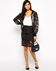 Max C London Max C Pencil Skirt With Sheer Floral Overlay Black