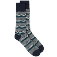 Anonymous Ism Zig Zag Links Crew Sock Blue