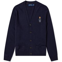 Polo Ralph Lauren Small Bear Embroidered Cardigan Blue