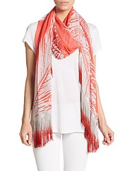 Saks Fifth Avenue Black Fringed Fern Print Scarf Shell Coral