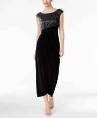 Connected Metallic Crinkle Faux Wrap Gown Black Silver