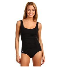 Speedo Shirred Tank One Piece Black Women's Swimsuits One Piece