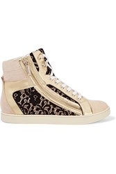 Just Cavalli Lace Paneled Suede And Patent Leather Sneakers Nude