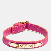Coach Leather Buckle Plaque Bracelet Gold Cerise