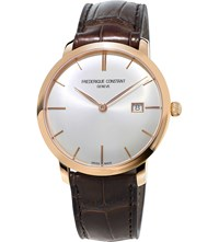 Frederique Constant Fc 306V4s4 Slimline Gold Plated Stainless Steel And Leather Watch