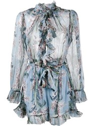 Zimmermann Winsome Floral Print Ruffle Playsuit Blue