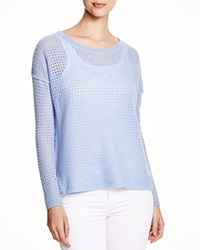C By Bloomingdale's Mesh Cashmere Sweater Powder Blue