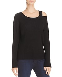 Aqua Cold Shoulder Rib Knit Sweater 100 Exclusive Black