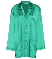 Balenciaga Oversized Satin Pajama Shirt Green