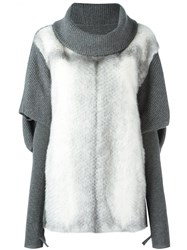 Liska Mink Fur Panel Jumper Grey