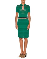 Missoni Knit Short Sleeve Polo Dress Green