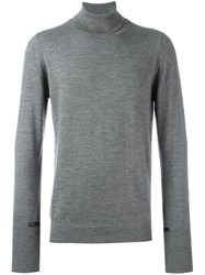 The Inoue Brothers Leather Trim Turtle Neck Jumper Grey
