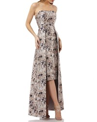 Kay Unger New York Metallic Jacquard Gown W Floral Overlay Champange Multi