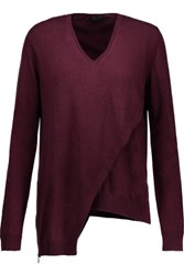 Belstaff Lennox Asymmetric Wool Sweater Burgundy