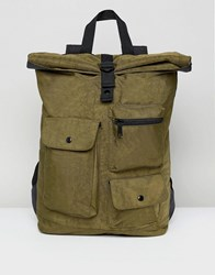 Asos Backpack With Roll Top In Washed Khaki And Multi Pocket Detail Green