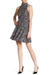 Abs By Allen Schwartz Mock Neck Jacquard Fit And Flare Dress Multi