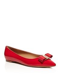 Salvatore Ferragamo Emy Pointed Toe Bow Flats Pamplona Red Gold