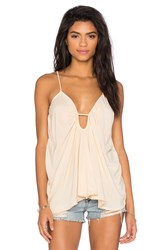 Blue Life Criss Cross Back Tank Beige