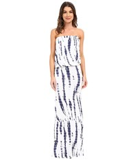 Culture Phit Riena Maxi Dress White Navy Tie Dye Women's Dress