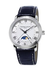 Frederique Constant Stainless Steel And Leather Strap Watch Black