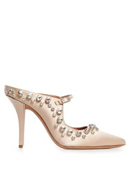 Givenchy Crystal Embellished Point Toe Satin Mules Nude