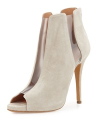 Pvc Panel Peep Toe Suede Bootie Taupe Alexa Wagner Brown