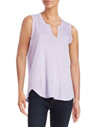 Lord And Taylor Split Neck Tank African Violet