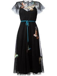 Red Valentino Bird Patches Tulle Dress Black