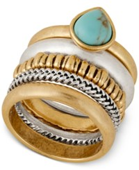 Lucky Brand Two Tone Turquoise Look Stacked Ring Two Tone