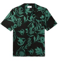 Ami Alexandre Mattiussi Camp Collar Printed Cotton Shirt Green
