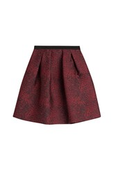 Burberry London Pleated Jacquard Skirt Red