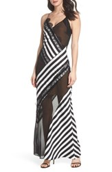 Harlyn Illusion Stripe Gown Black White