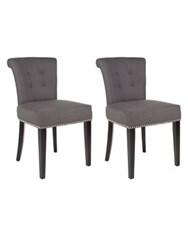 Safavieh Sinclair Set Of Two Nail Heads Ring Chairs Charcoal