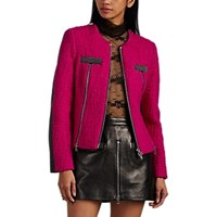 Alexander Wang Wool Tweed And Leather Moto Jacket Md. Pink