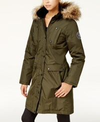 Madden Girl Faux Fur Trim Parka Olive Natural