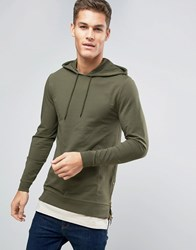 Asos Muscle Hoodie With Side Zips And T Shirt Hem Washed Field Green